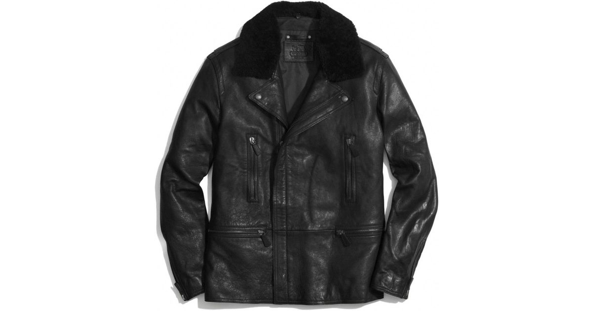 Coach Long Leather Moto Jacket With Shearling Collar In