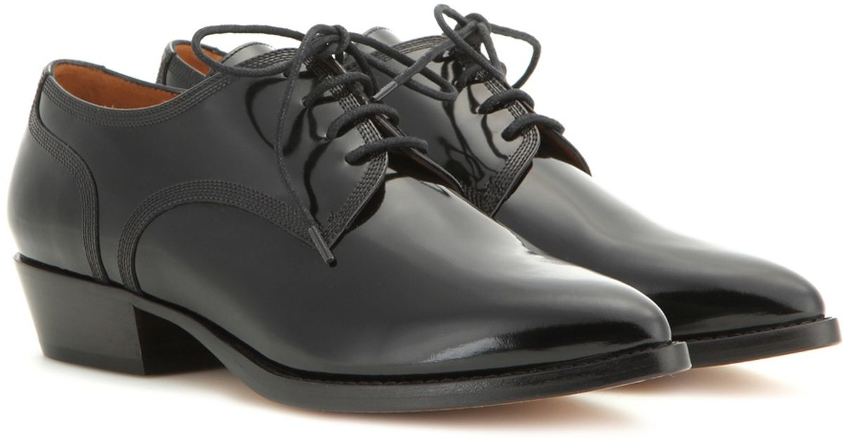 valentino patent leather derby shoes in black lyst