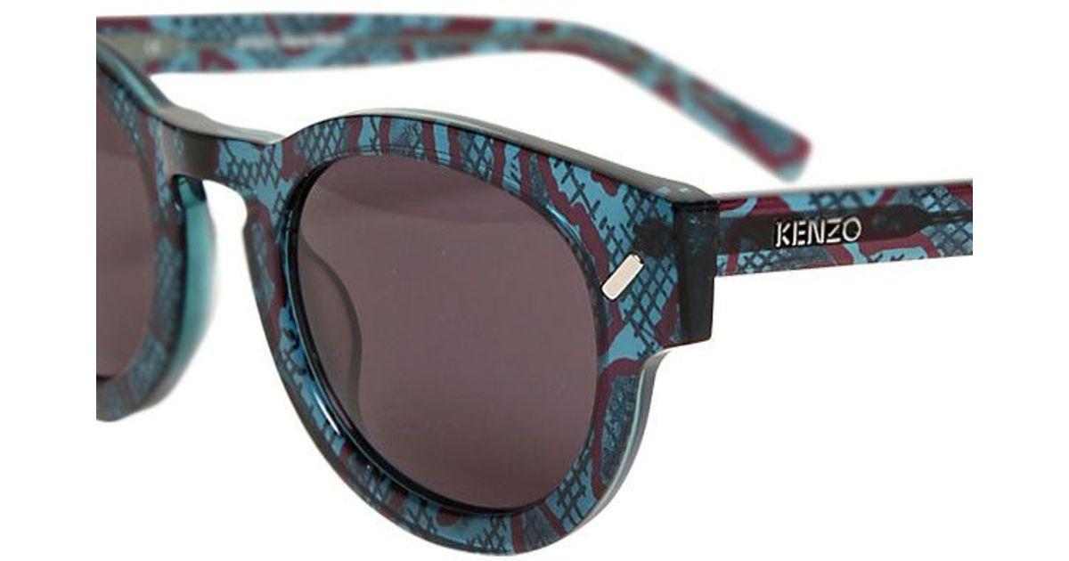 414614728c Kenzo Snake Effect Acetate Sunglasses in Blue - Lyst