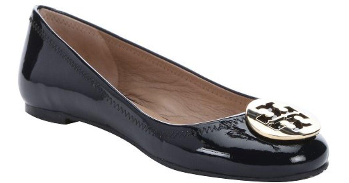 cc18b88adc28 ... cheapest lyst tory burch bright navy patent leather reva ballerina flats  in blue 9df0f e7181