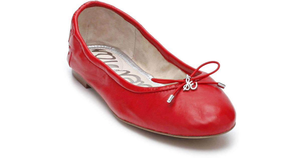 9147f4e7c Sam Edelman Felicia Leather Flats in Red - Lyst