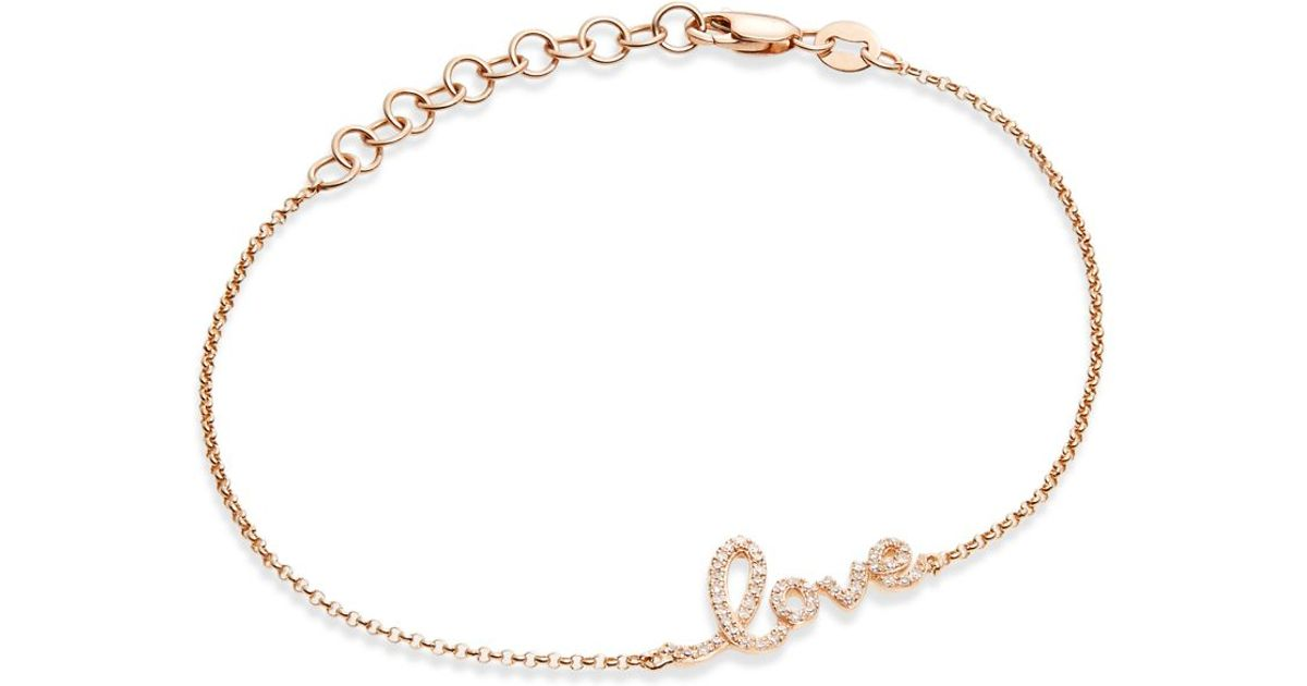 9a6ef64931 KC Designs Diamond & 14k Rose Gold Love Script Bracelet in Pink - Lyst