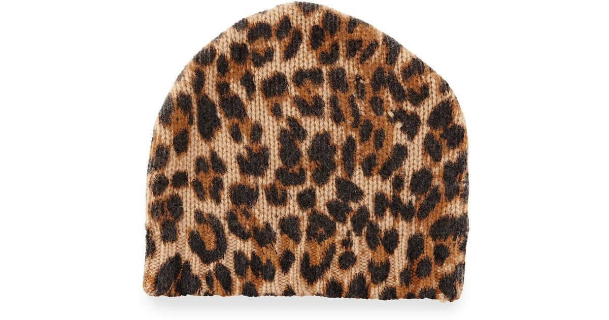 76ae4a8766cb1 Sofia Cashmere Leopard-print Cashmere Beanie Hat - Lyst