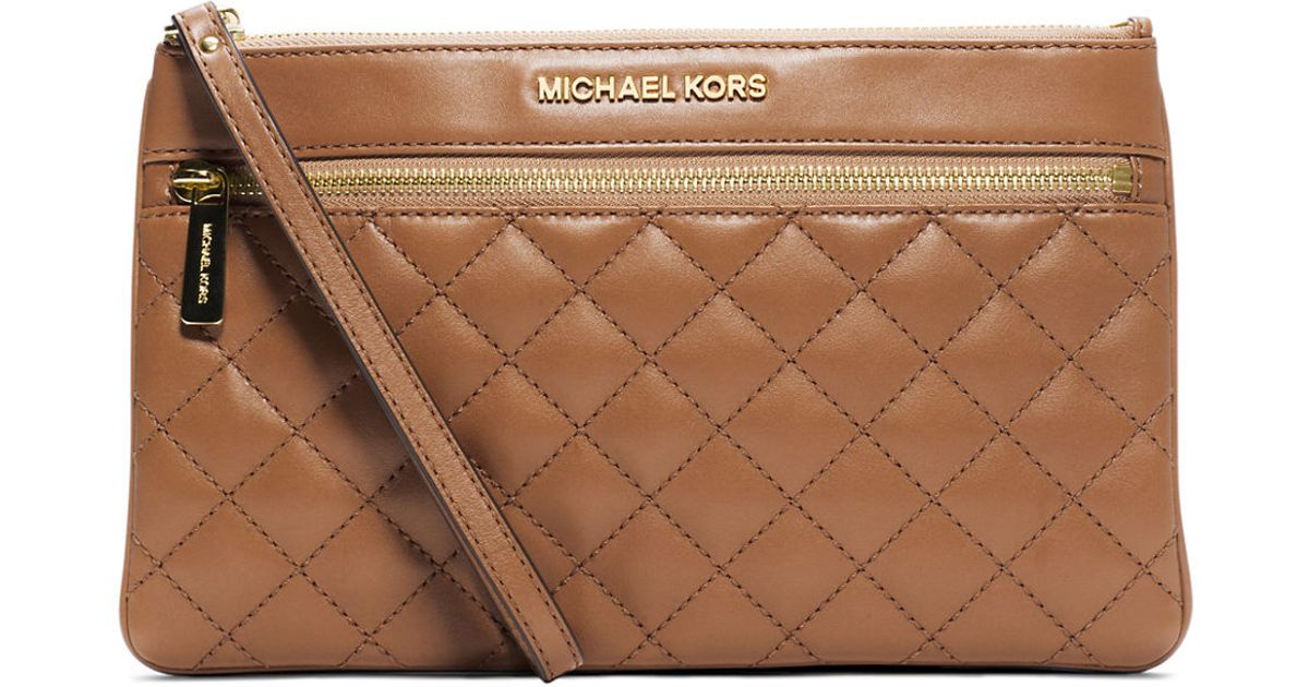 lyst michael michael kors selma quilted leather large zip clutch rh lyst com