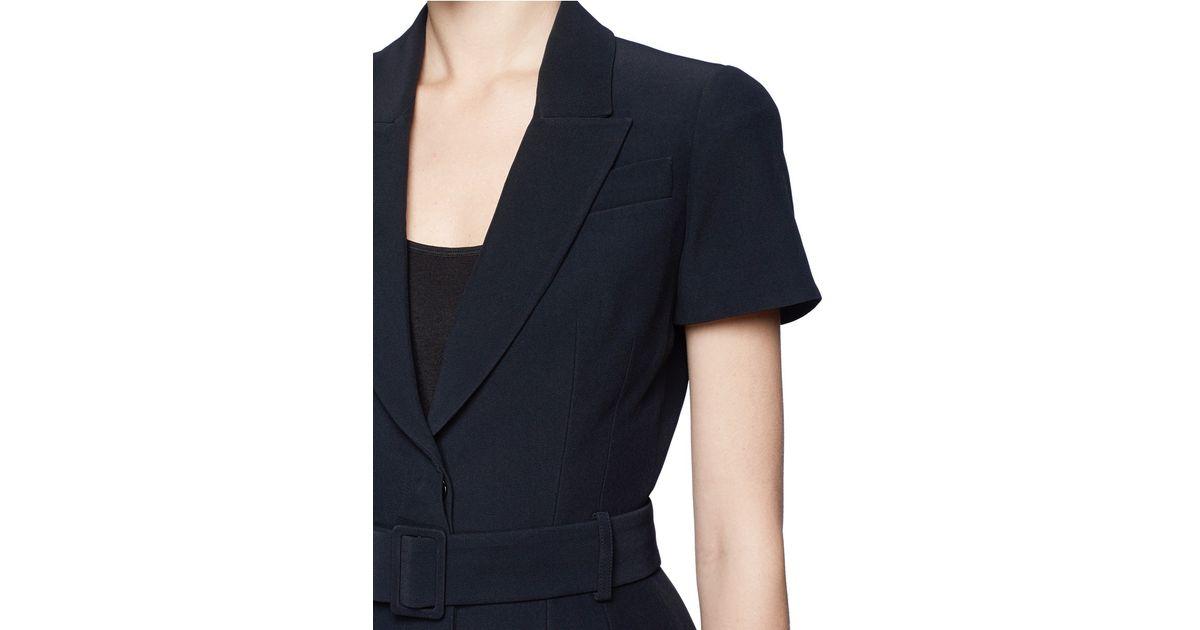 Alexander mcqueen Belted Short Sleeve Blazer in Black | Lyst