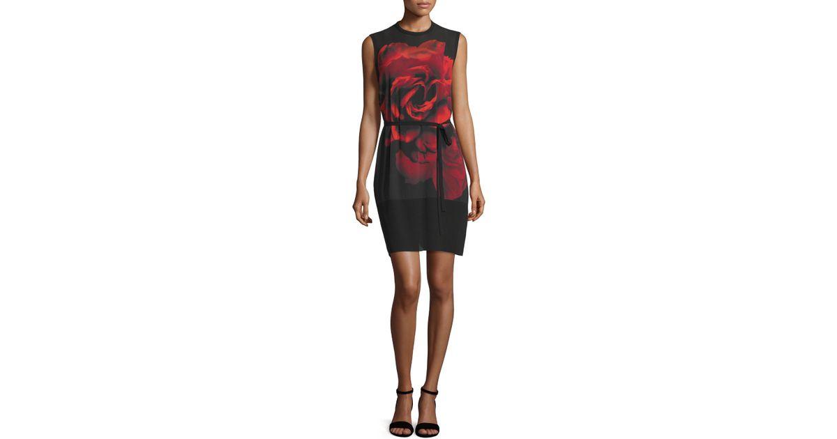 Black roses tunic dress