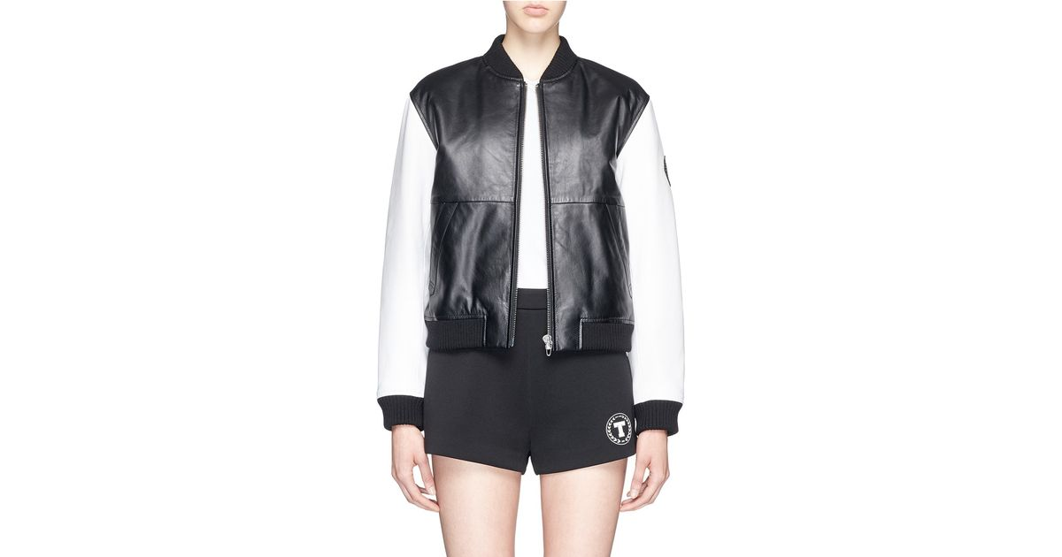 0c8af2661 T By Alexander Wang Black Lambskin Leather Bomber Jacket