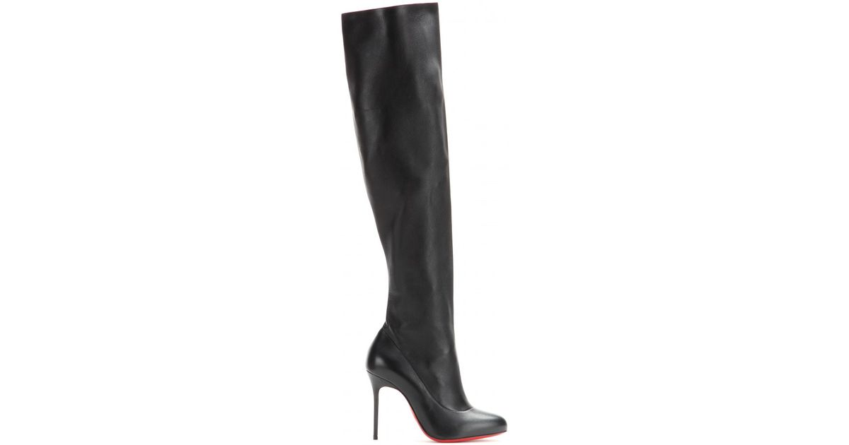 075fe14474b Christian Louboutin Black Sempre Monica 100 Leather Over-the-knee Boots