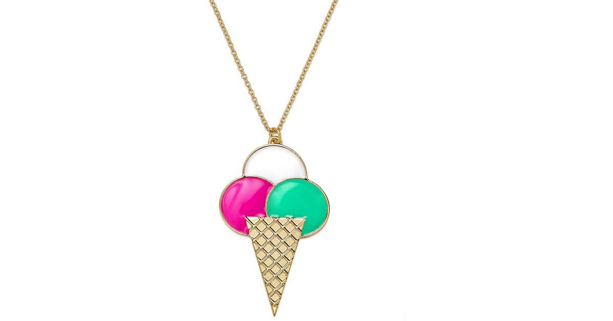 Lyst Kate Spade New York Goldtone Multicolor Sweet Treat Ice Cream Pendant Necklace In Metallic