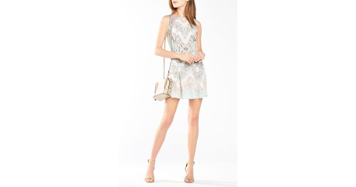 4826373f222 Lyst - BCBGMAXAZRIA Gwyneth Lace-blocked Dress in Blue