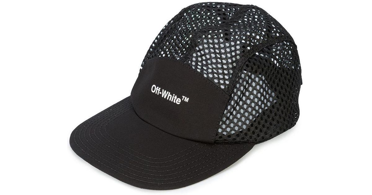 b9765a37de8 Lyst - Off-White c o Virgil Abloh Black Logo Print Mesh Cap in Black for  Men - Save 62%