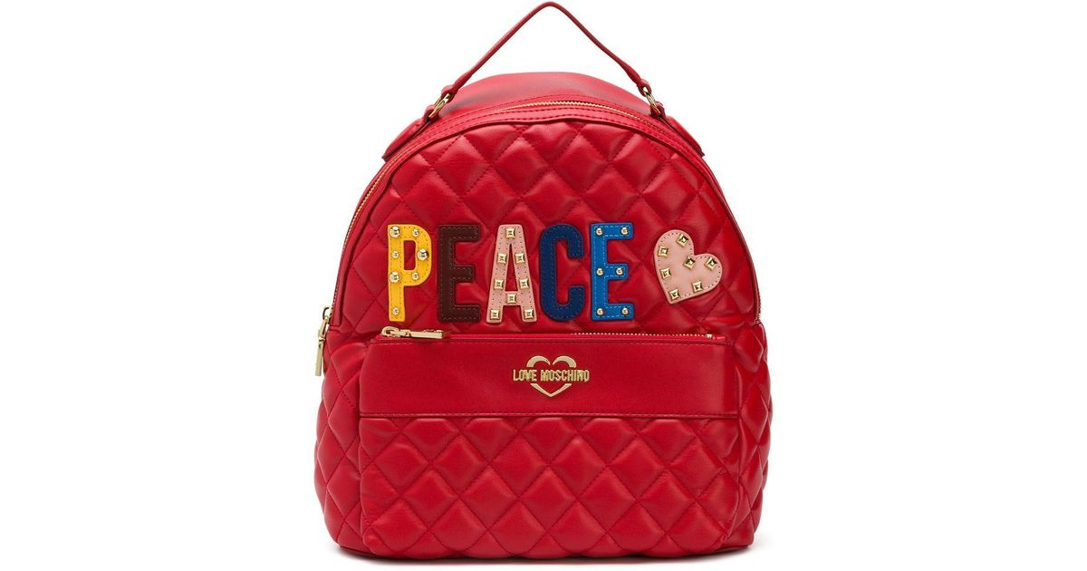 À Dos Peace En Moschino Love Sac Matelassé Coloris Red l1FKJcT