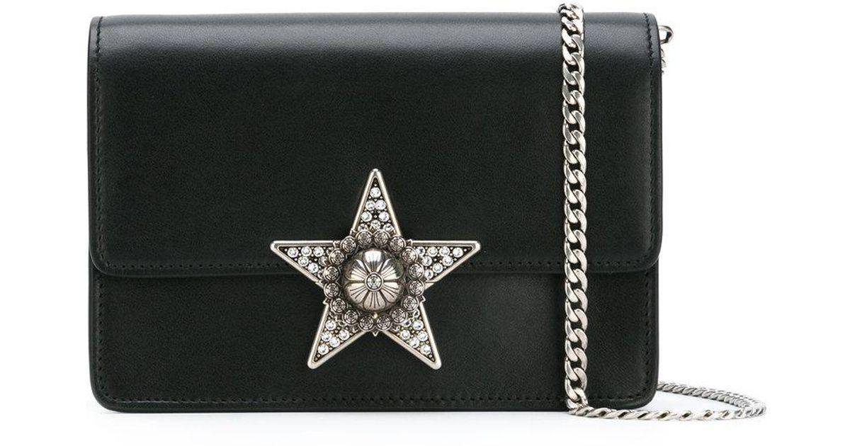 2a06f03461fc Lyst - Miu Miu - Star Embellished Cross-body Bag - Women - Sheep  Skin shearling - One Size in Black