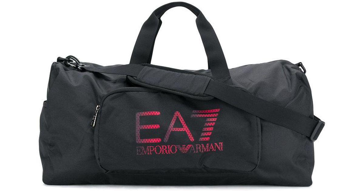 cd03b8e227c4 EA7 - Black Logo Print Holdall for Men - Lyst
