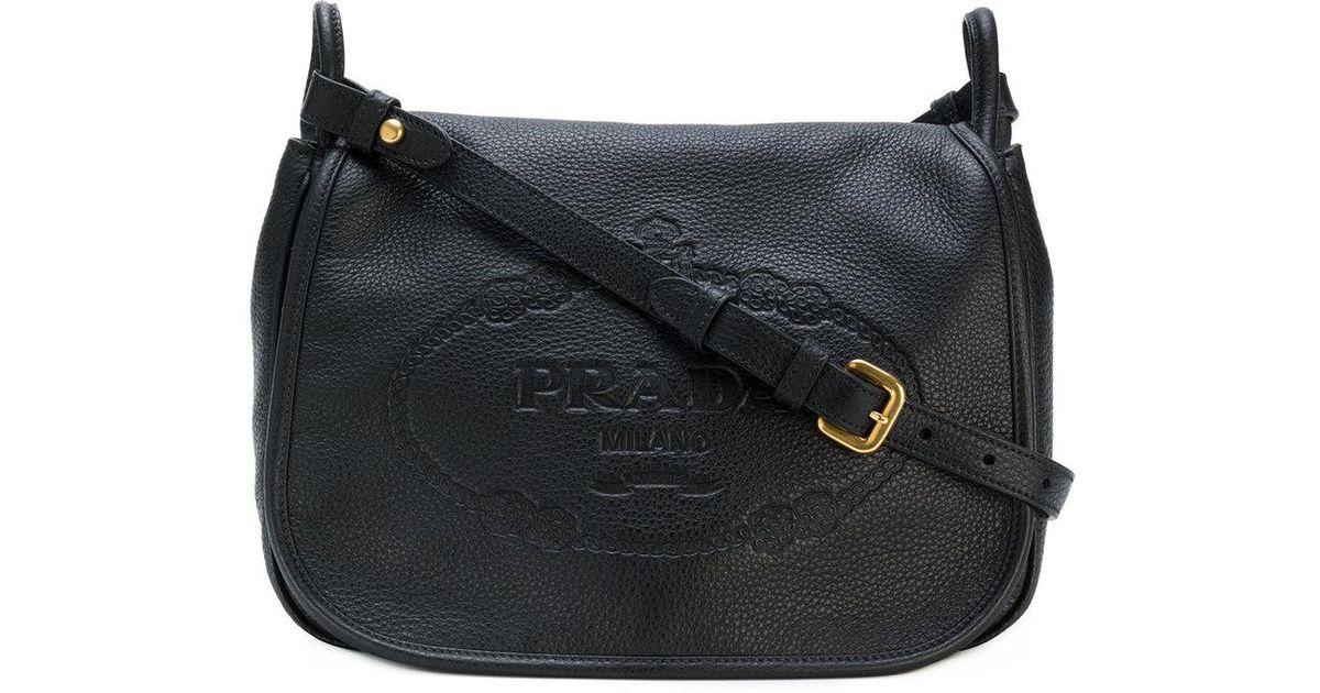 2c7cbfa78f9b Lyst - Prada Logo Embossed Shoulder Bag in Black