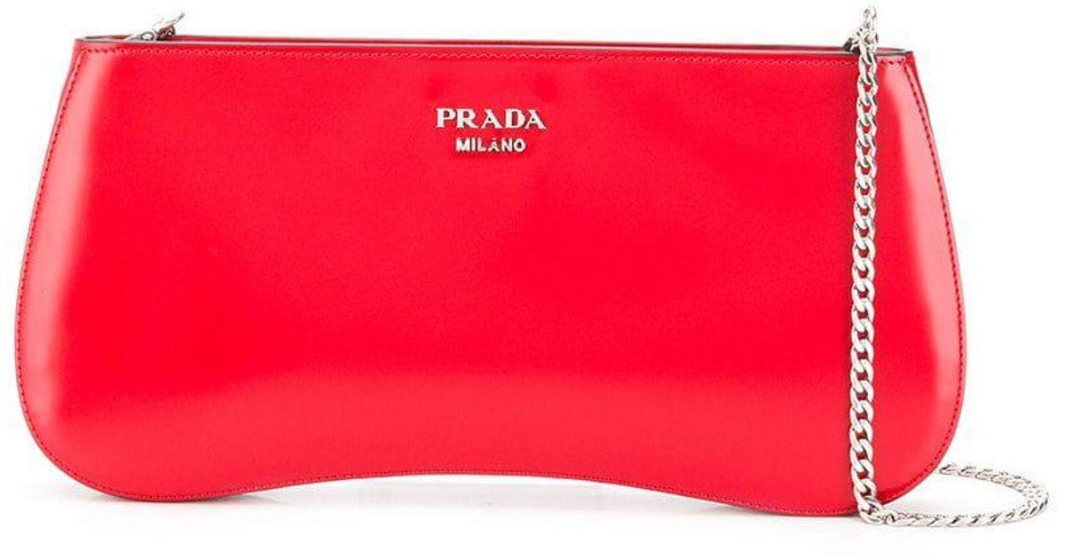 d864e1f71503 Lyst - Prada Logo Chain Curve Shoulder Bag in Red