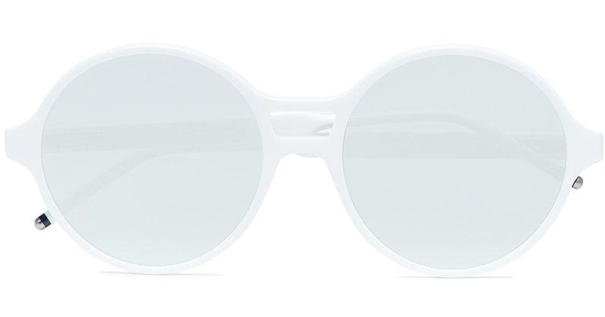 Lyst - Thom Browne White Round Frame Mirror Sunglasses in White for Men
