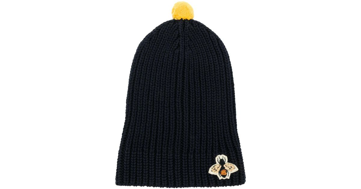 Bee Embroidered Ribbed Bobble Hat Gucci ktWA3L
