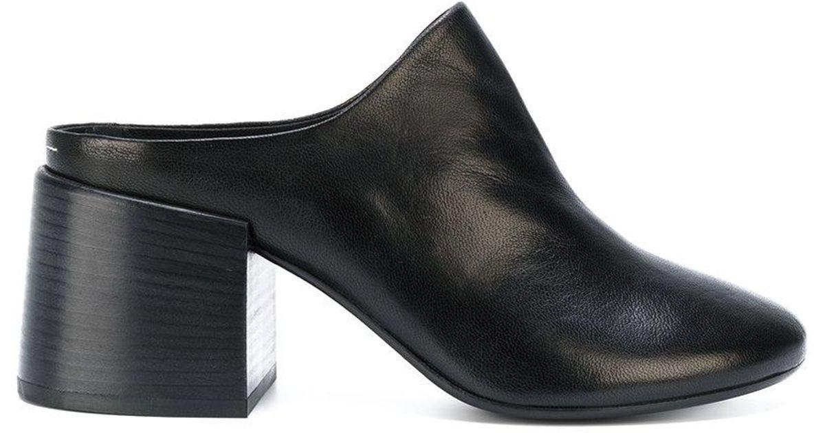 3b3618fe916d Lyst - MM6 by Maison Martin Margiela Block Heel Closed Toe Mules in Black