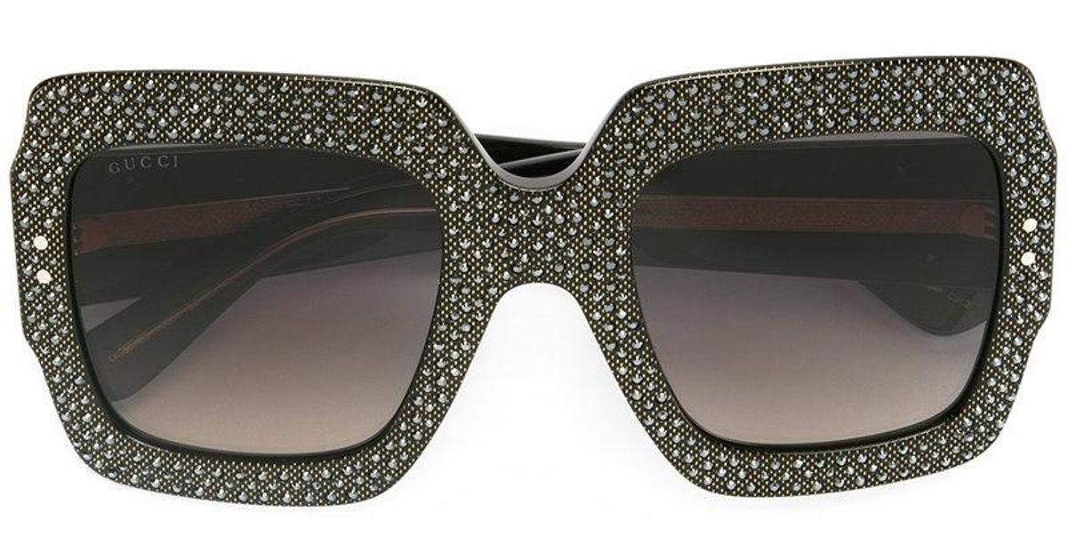 b1f39f80d5 Lyst - Gucci Oversize Crystal Square Sunglasses in Black