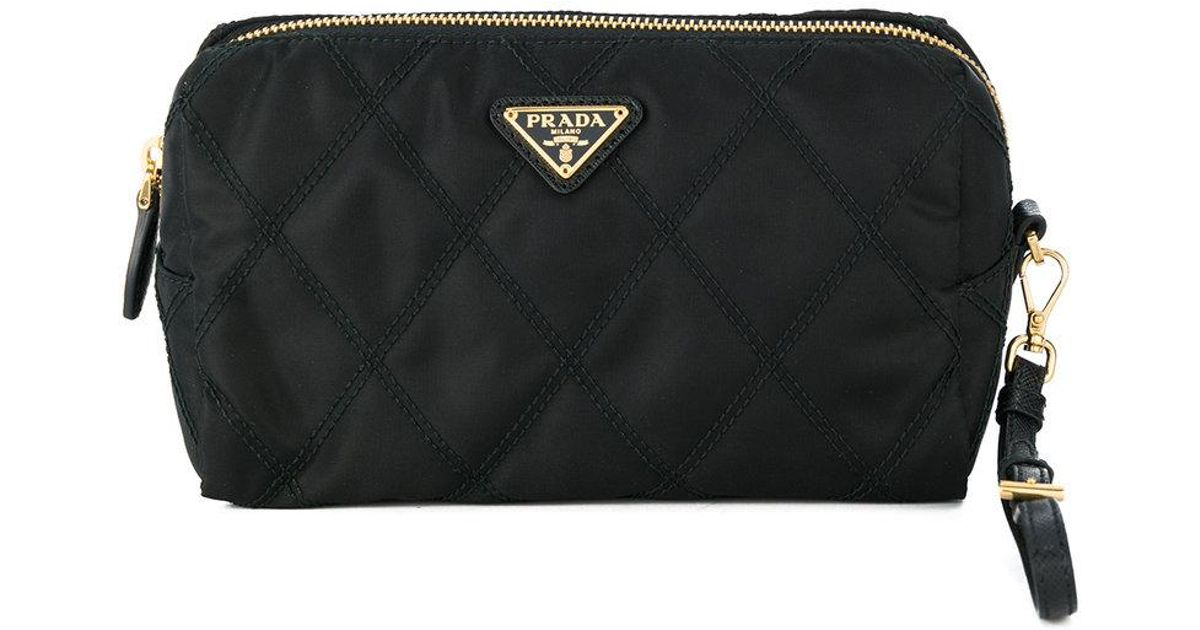 a54688254f97 ... sale lyst prada quilted makeup bag in black 9f8a4 62171