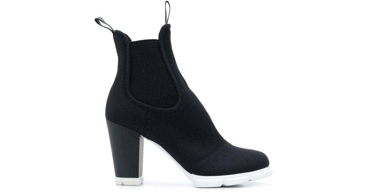 Prada Neoprene Scuba Ankle Boots in