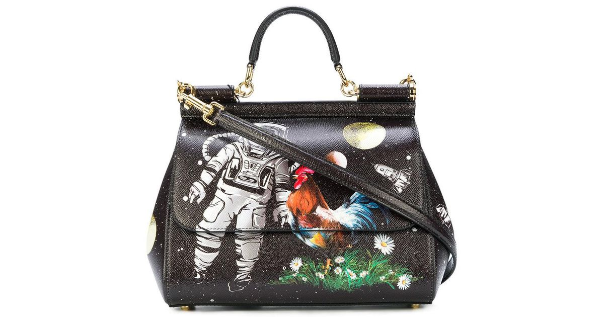 00a96973932b Lyst - Dolce   Gabbana Sicily Astronaut Printed Tote Bag in Black