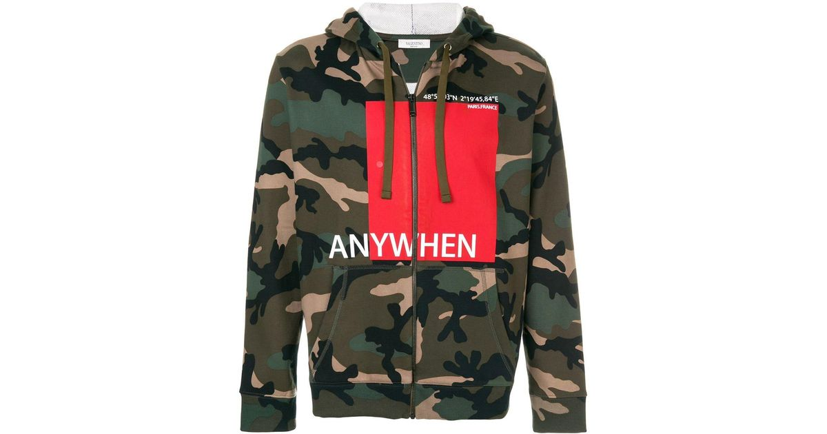 Valentino Cotton Anywhen Printed Camouflage Hoodie In