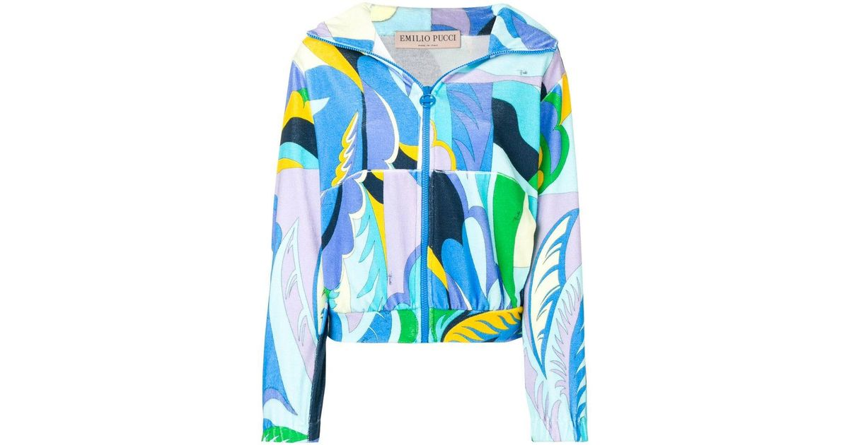 07d719318e02 Lyst - Emilio Pucci Acapulco Print Zipped Terrycloth Hoodie in Blue