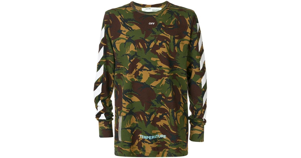 a48b7e8fc4a9 Lyst - Off-White c o Virgil Abloh Camouflage Print Long Sleeve T-shirt in  Green for Men