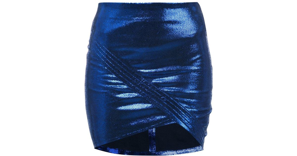 Fake wrap-around metallic leather mini skirt - Blue Rta Sale 100% Original Clearance Explore Best Place To Buy Shopping Discounts Online MUKxJHFLaQ