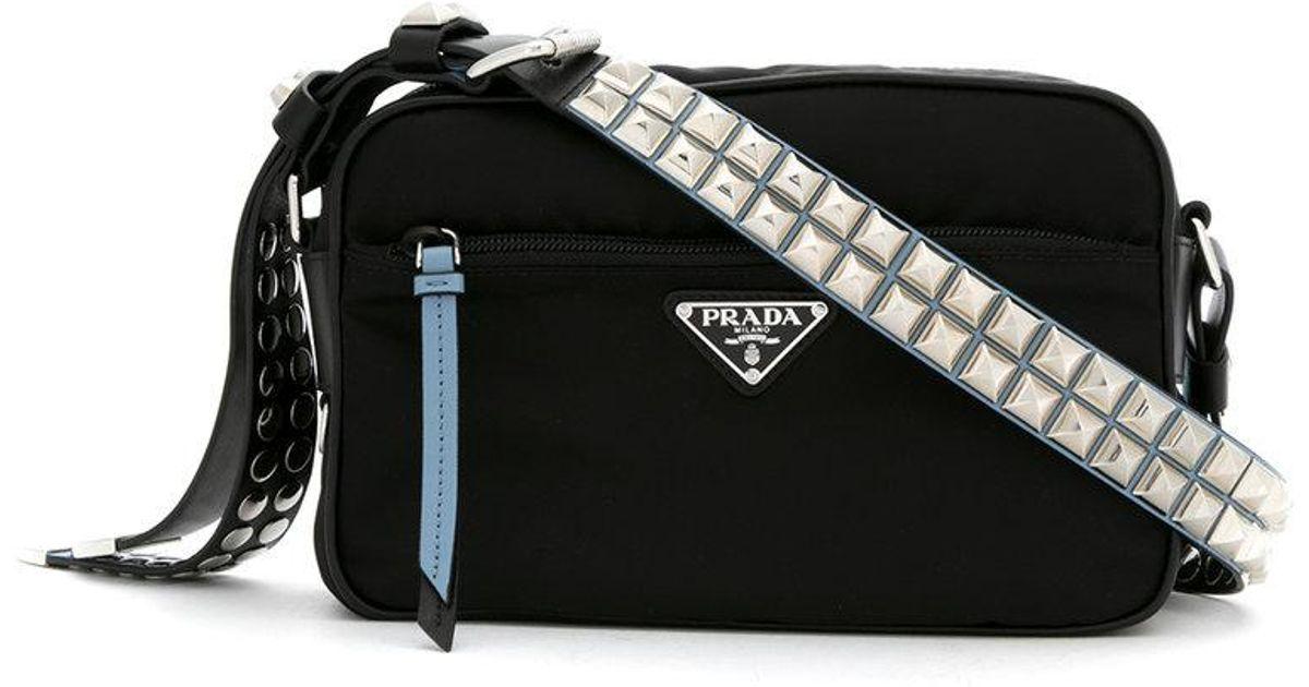 97d574169586 cheap prada studded crossbody bag in black lyst 8f951 e9f62