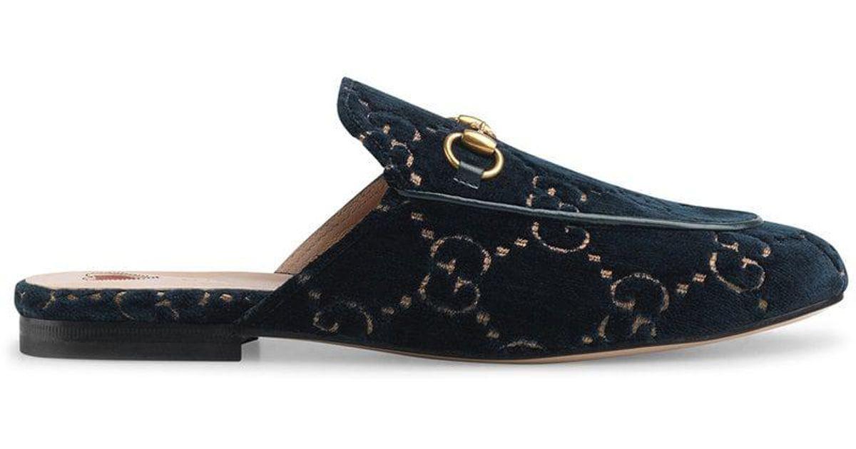 8e3204589 Gucci Princetown GG Velvet Slipper in Blue - Save 17% - Lyst
