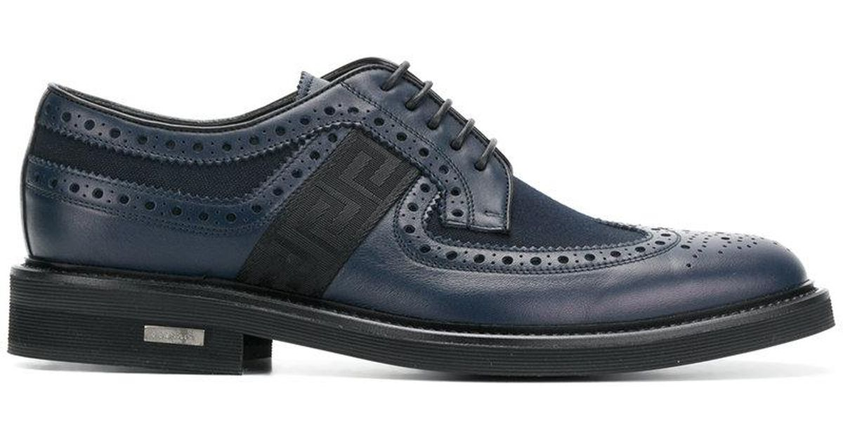 brogues with Greek key side panels - Blue Versace kV60VaKbHr