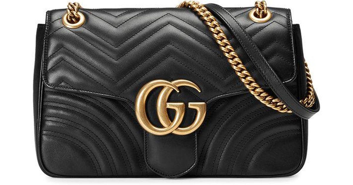 14114d80249f Gucci Gg Marmont Medium Matelassé Shoulder Bag in Black - Save 36% - Lyst