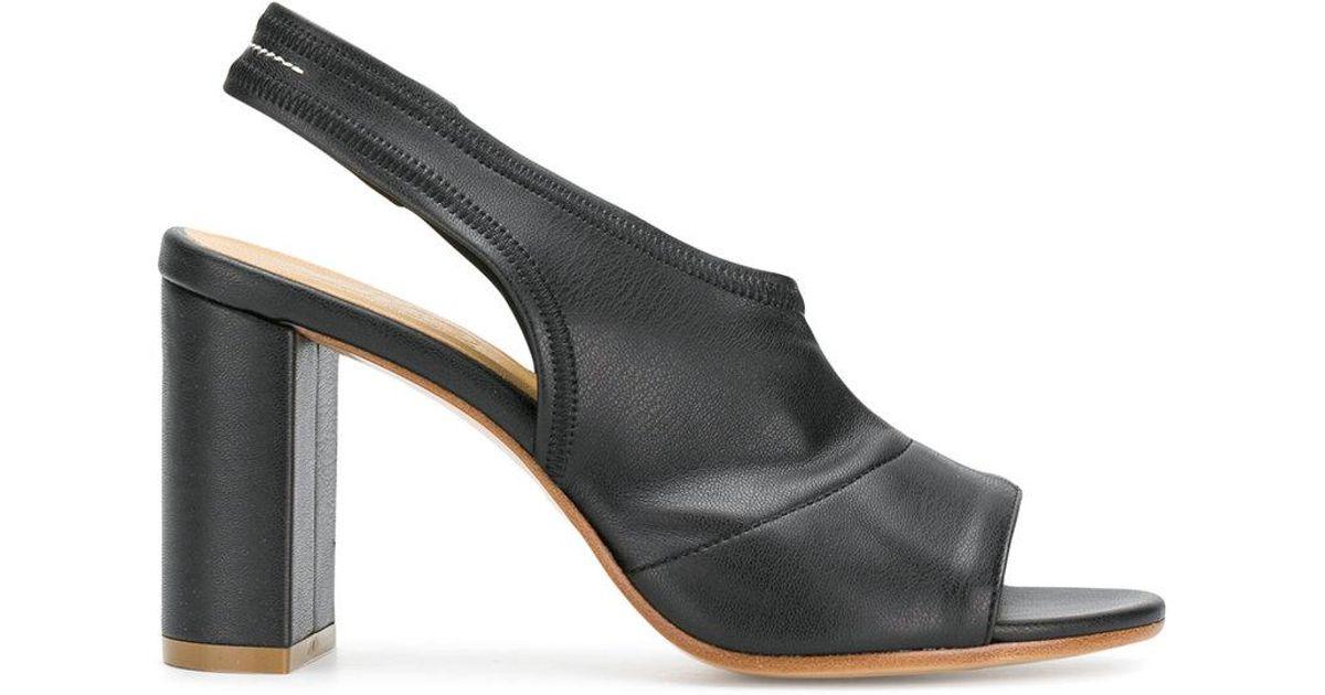 e2b1cf58a3f0 MM6 by Maison Martin Margiela Peep Toe Slingback Sandals in Black - Lyst