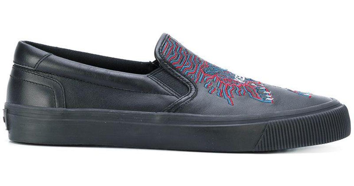 KENZO Cotton Geo Tiger Slip-on Sneakers