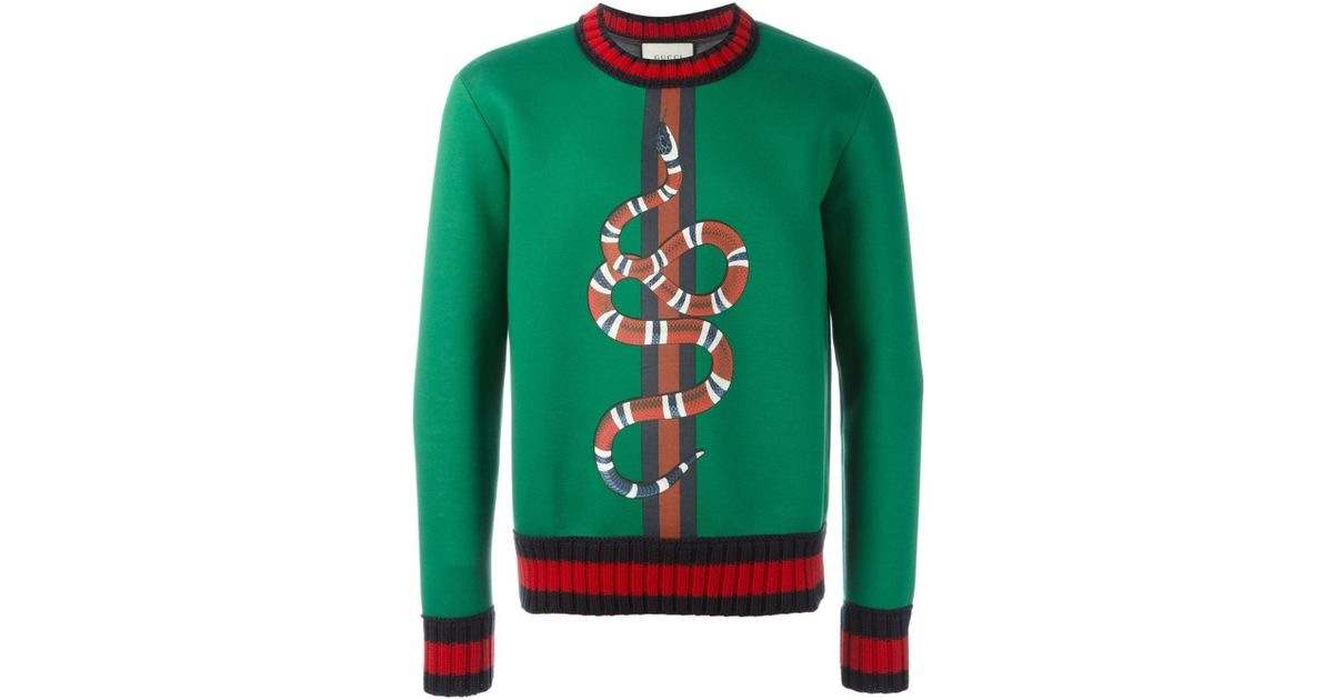 f9e3a35accb Lyst - Gucci Snake Print Sweatshirt in Green for Men