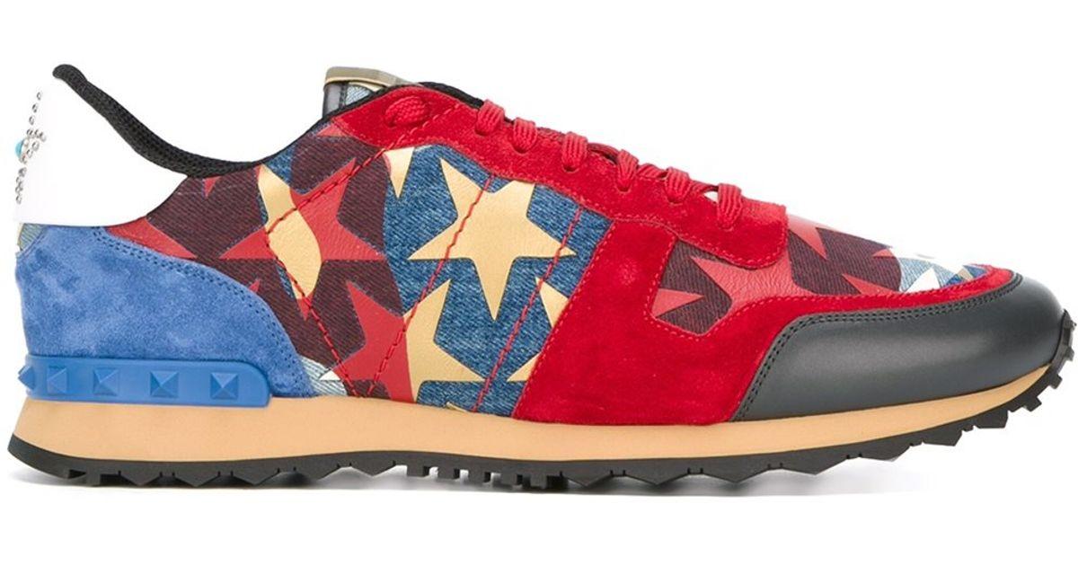 2e98708e7e6c0 Valentino 'Rockrunner Star Studded' Sneakers in Red for Men - Lyst