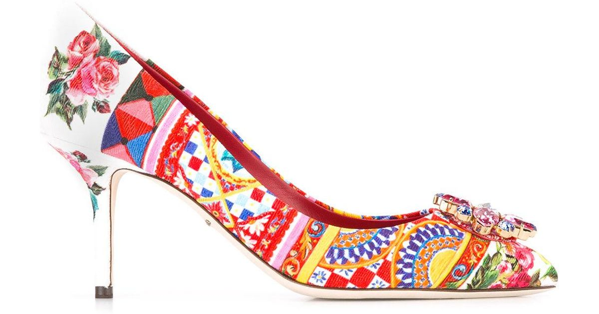 80c950286bf6 Lyst - Dolce   Gabbana Mambo Print Pumps in Red