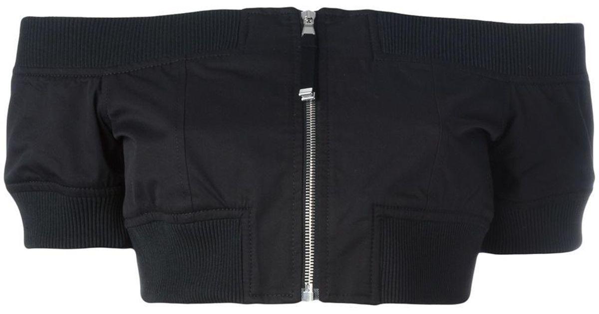 Black - Off-shoulder Cropped Jacket - Women - Cotton/polyamide - 42