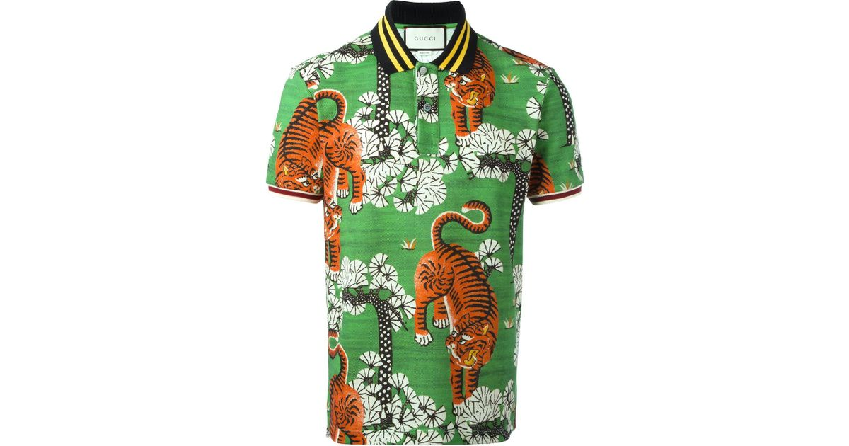 0f12d5de4 Gucci Bengal Print Polo Shirt in Green for Men - Lyst