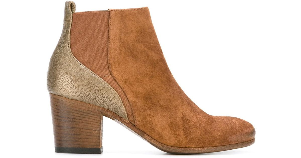 814bf07af7d53 Lyst - Pantanetti Metallic Detail Ankle Boots in Brown