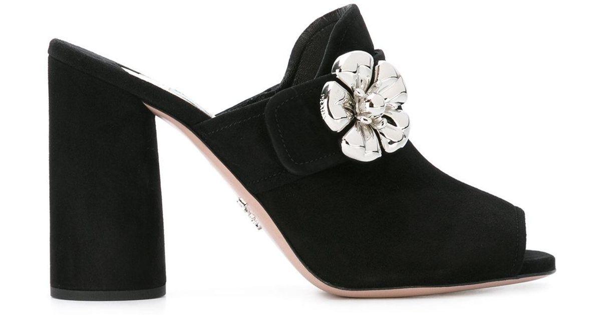 7a6b03dd3bf Prada - Flower Applique Sandals - Women - Leather suede - 36 in Black - Lyst