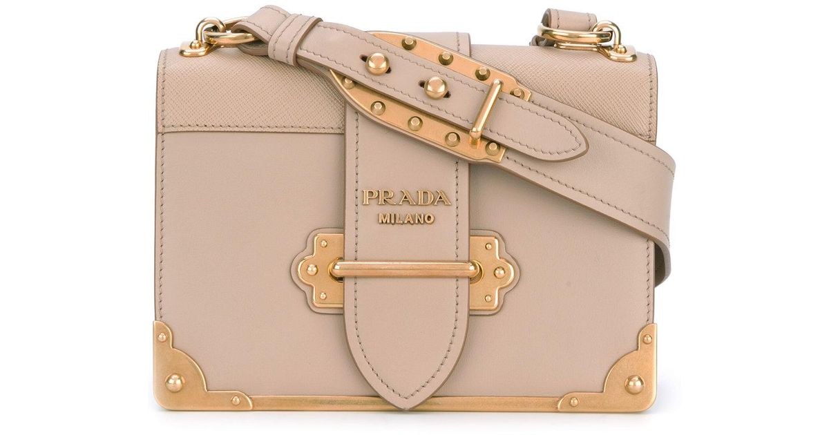 bebaf7fda4db ... switzerland lyst prada cahier shoulder bag women calf leather one size  in natural 47109 2272f
