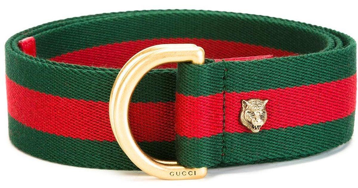 e593ad49552 Lyst - Gucci D Ring Web Belt in Green