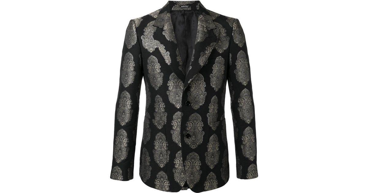 e2f18525f Alexander McQueen Paisley Brocade Blazer in Black for Men - Lyst