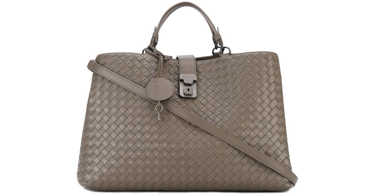 b2f5890e87a1 Bottega Veneta - Roma Intrecciato Tote - Women - Leather - One Size in  Brown - Lyst