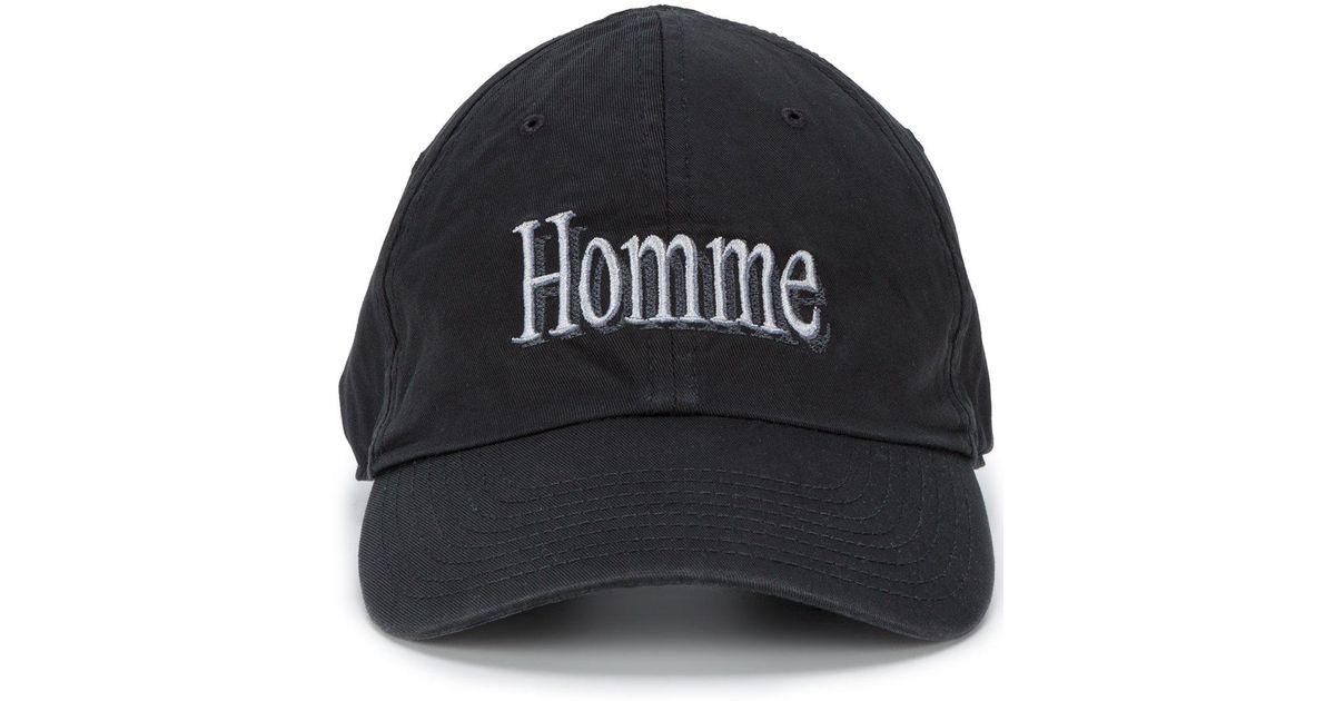 magasin en ligne 10803 38294 Balenciaga Black Homme Logo Cap for men