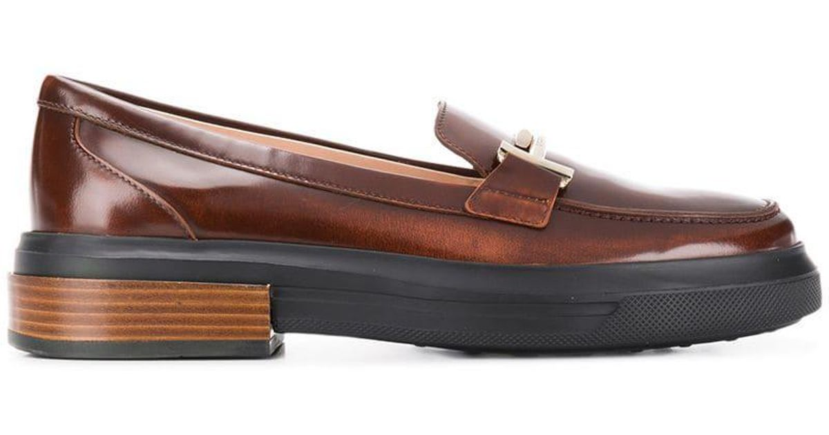 7289f2379fe Tod s Chunky Sole Loafers in Brown - Lyst
